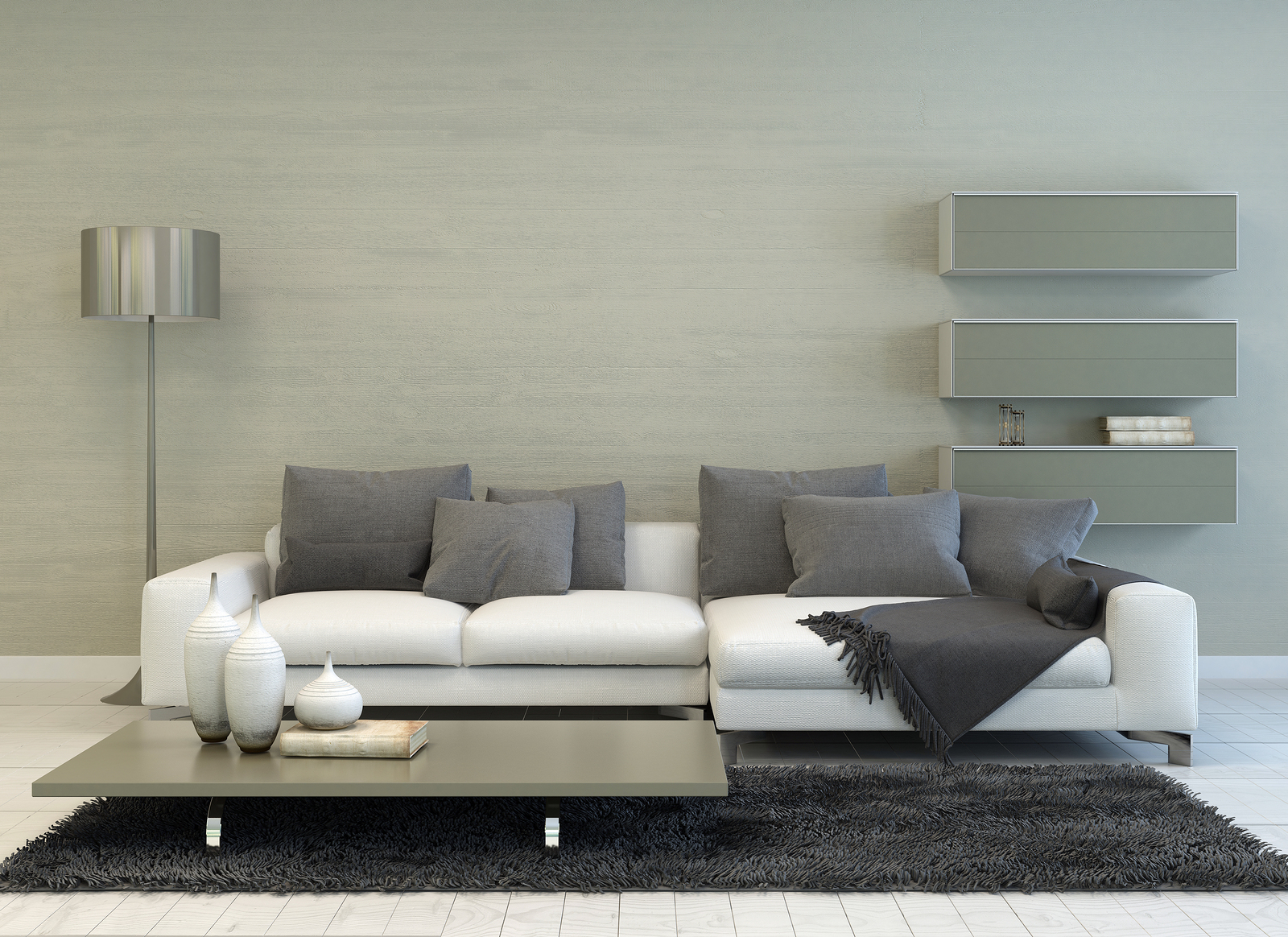 The Silver Touch Rendering Of Modern Grey And White Living Room With Floor Lam